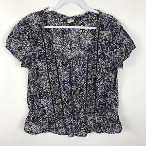 Sonoma Dark Floral Peplum Top Short Sleeves